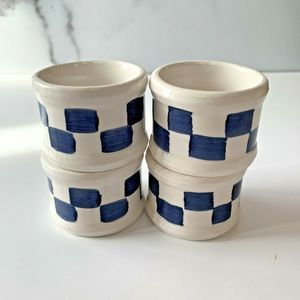 Vtg Enesco Napkin Ring Set of 4 Checkerboard